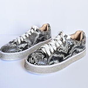 Snake Bling Studded Rhinestone Athleisure Shoes